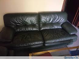 canap cuir vert canapé et fauteuil cuir vert foncé a vendre 2ememain be