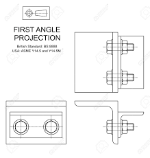 example of first angle orthographic projection drawing using