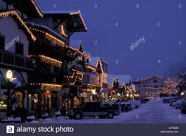 Main Street Lighting Na Usa Washington Leavenworth Main Street With Christmas
