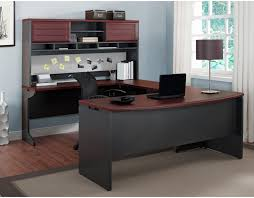 U Shaped Desk Altra Benjamin U Shaped Desk With Hutch Cherry And Gray Hayneedle