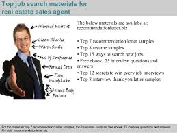 real estate sales agent recommendation letter