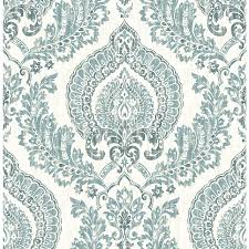 Stick And Peel Wallpaper by Shop Brewster Wallcovering Peel And Stick Blue Vinyl Damask