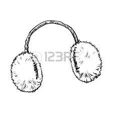 bright fluffy fur ear muffs sketch style vector illustrations