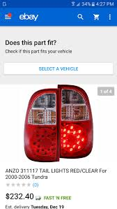 2000 toyota tundra tail light new anzo usa 311060 toyota tundra red clear led tail light assembly