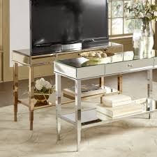 camille mirrored tv stand consol table with drawer by inspire q