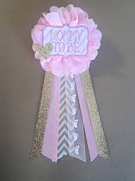 baby shower ribbon pink and gold baby shower to be flower ribbon pin corsage