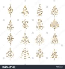 set abstract outline style christmas pine stock vector 326096156