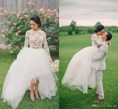 2017 country style two pieces wedding dresses sheer neck hi lo