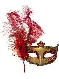gold masquerade mask and gold venetian masquerade mask