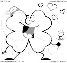 cartoon clipart of a black and white shamrock clover character