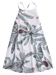 leaf print slip dress white summer dresses s zaful