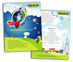 single page brochures design for kids activities offset or digital