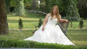 wedding dress no stout woman in white no shoulders wedding dress hairs