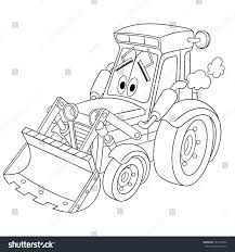 cartoon jeep drawings coloring page tractor bulldozer cartoon vehicle stock vector