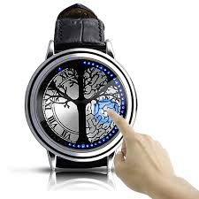 tree pattern hybrid blue touch screen leather band led