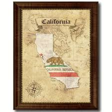 california state vintage map art office wall home decor rustic