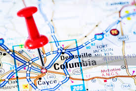 map of columbia south carolina us capital cities on map series columbia south carolina sc stock