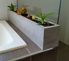 polished concrete planter large rectangular 900mm succulent