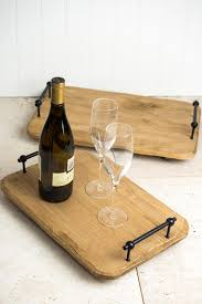 wood serving trays with metal handles set of two