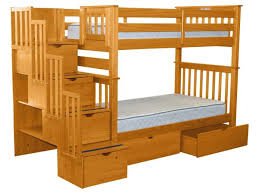 bunk beds tall twin stairway honey 2 drawers 725