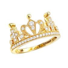 crown rings jewelry images Luxurman womens rings 14k gold queen crown ring with diamonds 0 35ct jpg