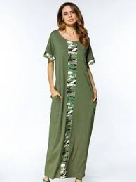 salecasual camouflage patchwork short sleeve o neck women maxi