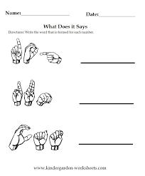kindergarten worksheets worksheets sign language vocabulary