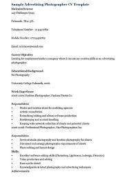 Photographers Resume Sample by Advertising Photographer Resume
