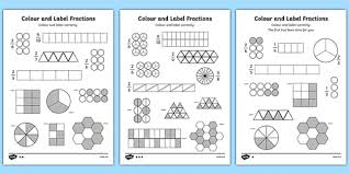 colour and label fractions worksheet fractions fractions