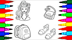 rainbow learning beautiful barbie accessories coloring pages