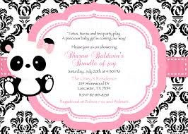 damask or polka dot baby panda baby shower invitation u0026 tag