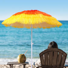 Beach Sun Umbrella 5ft Beach Umbrella Sun Shade Shelter Straw Tropical Thatch