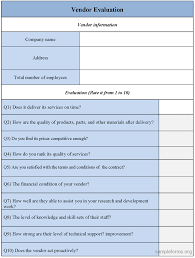 vendor evaluation form vendor evaluation forms sample vendor