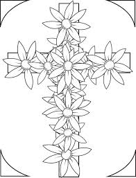 free printable cross with flowers coloring page for