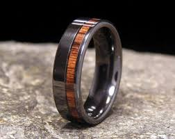 black zirconium wedding bands unique handmade artisan quality wood inlay rings by holzringshop