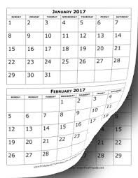 Printable 2017 Calendar Two Months Per Page | printable 2017 calendar two months per page