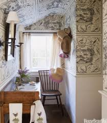 Toile Bathroom Wallpaper by Toile Bathroom Decor Pretty White Bathroom With Pink Toile