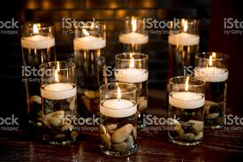 Vases With Floating Candles Floating Candles In Cylinder Vases Stock Photo 640182252 Istock