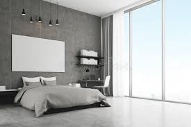 chambre avec mur en chambre à coucher avec le mur en béton et le plancher illustration