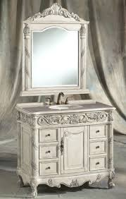 furniture carved white wooden shabby bathroom vanity with round