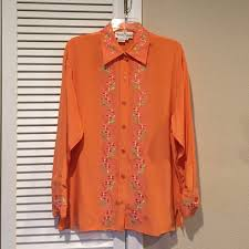 dvf silk blouse orange blouse with pink and green floral size m