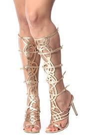 simplistic goddess gold gladiator single sole heels cicihot heel