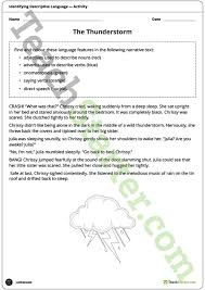 identifying descriptive and figurative language worksheets