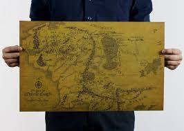 Lord Of The Rings Decor World Map Wall Art Mural Decor Old Version The Lord Of The Rings