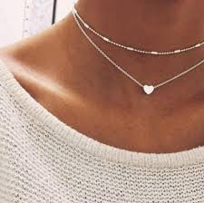 love heart choker necklace images Simple gold color love heart choker necklace for women multi layer jpg