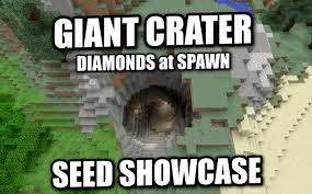diamond minecraft minecraft ps4 giant crater diamonds at spawn seed showcase