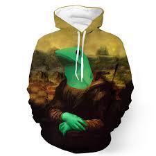 Meme Jacket - dat boi frog funny meme mona lisa parody vintage 3d hoodie woof