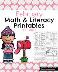 1st grade math and literacy worksheets for february planning