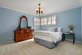 Bedroom Light Blue Walls Master Bedroom With Light Blue Walls Stock Photo Image Of