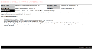 finance and administration manager cover letter u0026 resume